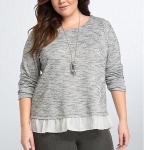 Torrid Ruffle Hem Top Black White Sweater 2
